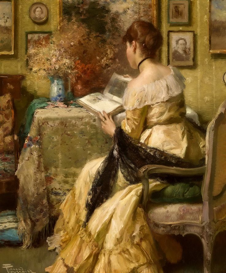 ✉ Biblio Beauties ✉ paintings of women reading letters and books - Fernand Toussaint | Afternoon reading
