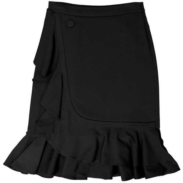 Pre-owned j.w. Anderson Mid-Length Skirt ($244) ❤ liked on Polyvore featuring skirts, black, women clothing skirts, frilly skirt, ruffle skirt, zip skirt, flounce skirt and frilled skirt