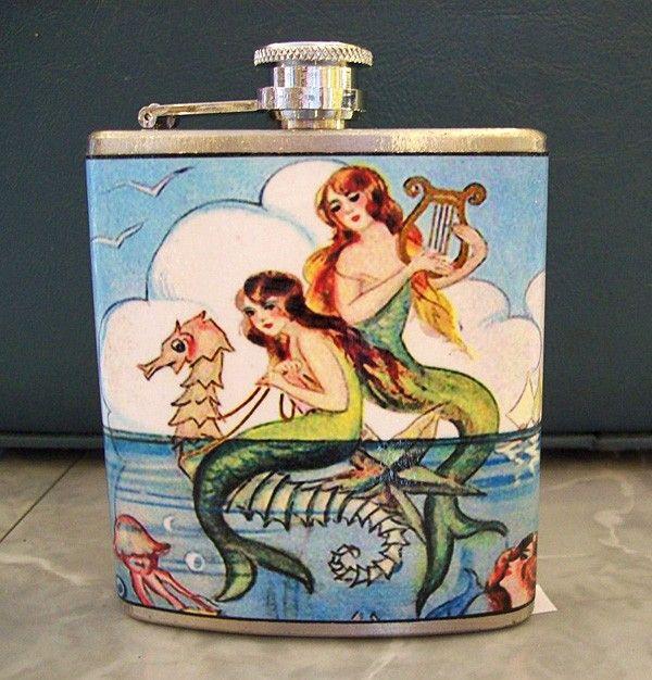 mixing liquor & mermaids.Things Mermaid, 1950 S Pin, Mermaid Flasks, Vintage 1950 S, Flasks Retro, Vintage Mermaid, Pin Up, Vintage Pins, Retro Vintage