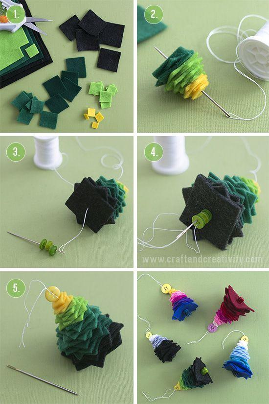 Felt Christmas trees - by Craft & Creativity