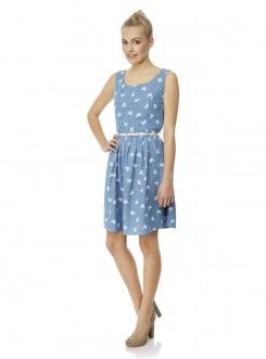 Chambray Butterfly Print Dress