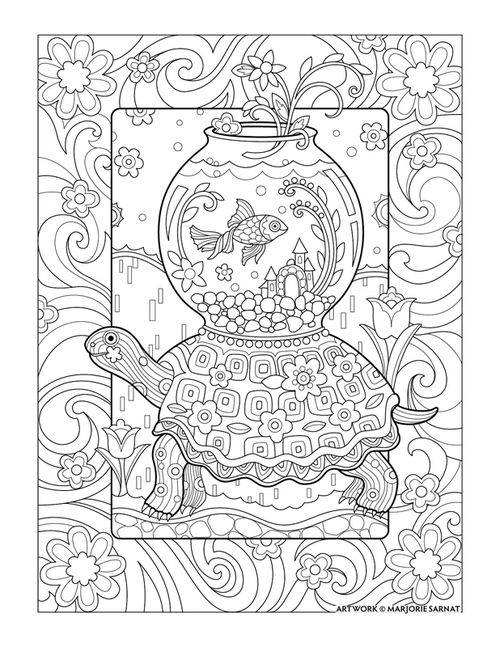 Adult Coloring Book Printable Pages By JoenayInspirations See More Traveling Goldfish