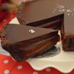 Chocolade en licht gezouten karamel in één taart