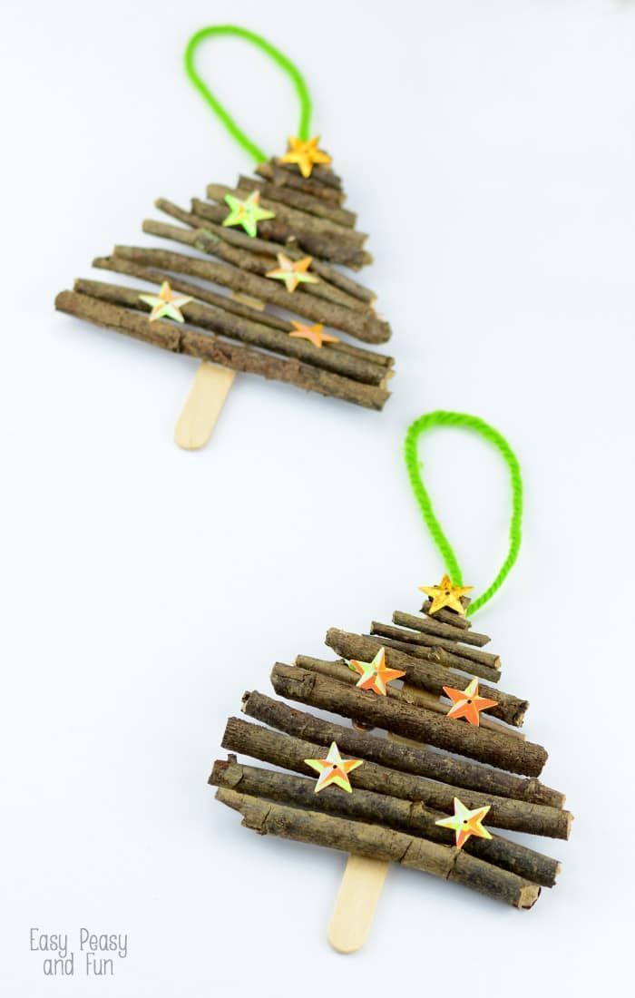 Popsicle stick and branches Christmas tree ornaments