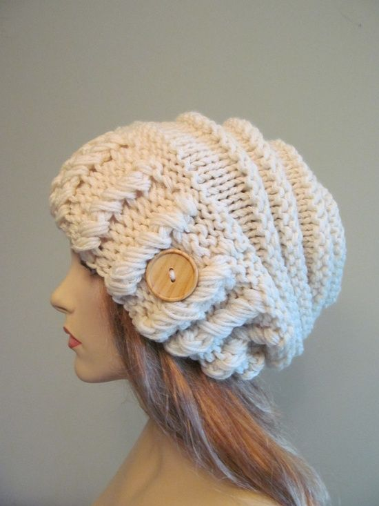 Cream Oversized Winter Hat Slouchy Beanie via Etsy