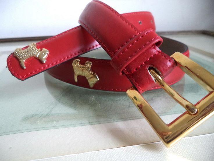 Lovely Gold Dog Scottie Vintage Red Leather France belt 75cm mint charm belt