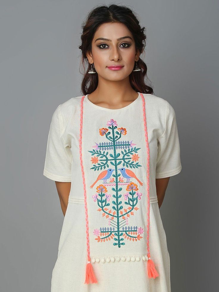 Off White Khadi Cotton Hand Embroidered Do Chidiya Kurta