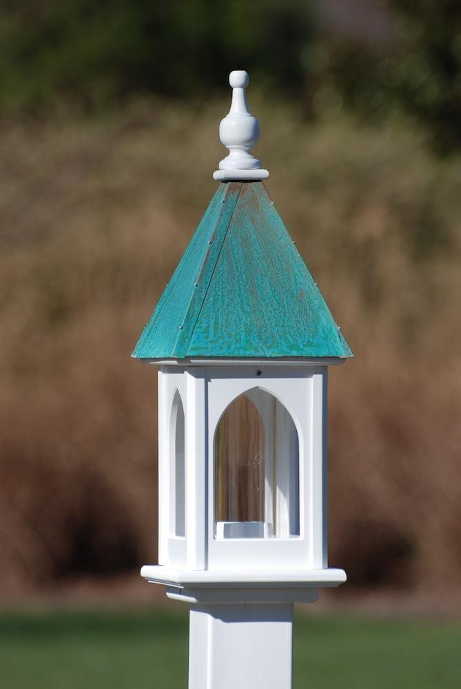 Copper Roof Bird Feeder Vinyl Pvc 28x8 Copper Roof Bird Feeder Bird Feeders Wooden Bird Feeders