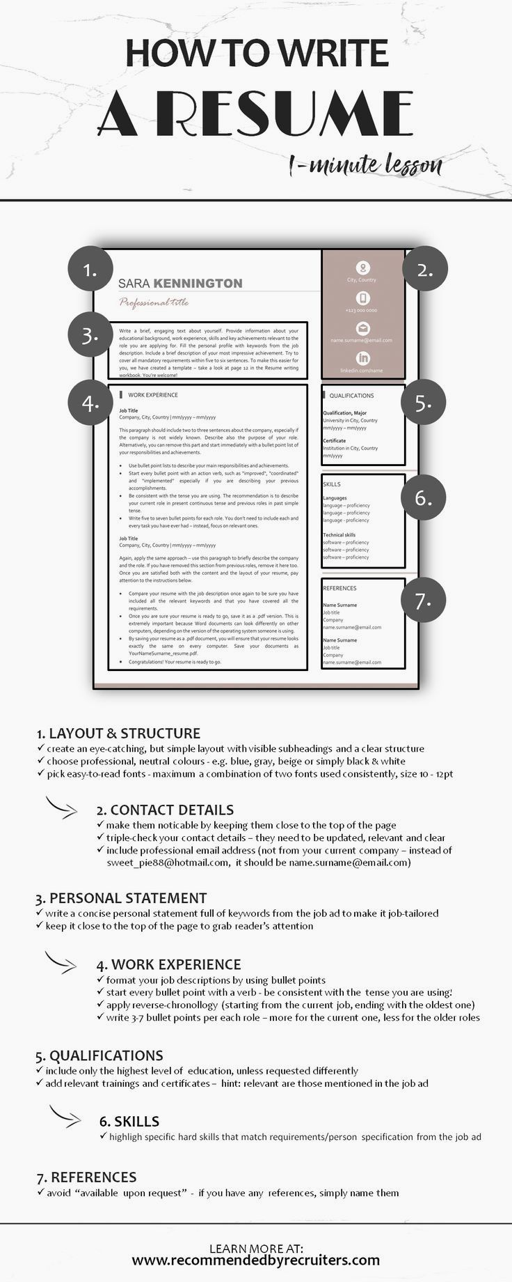 1 Minute Lesson How To Write A Resume Learn How To Create A