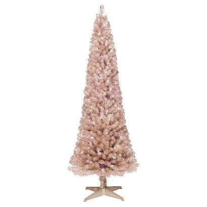 Create a warm and inviting holiday atmosphere with the 6' Pre-Lit Slim Rose Gold Alberta Spruce Artificial Christmas Tree with Clear Lights. Decorative tinsel and the soft glow of clear lights will make a festive backdrop and enhance your décor.