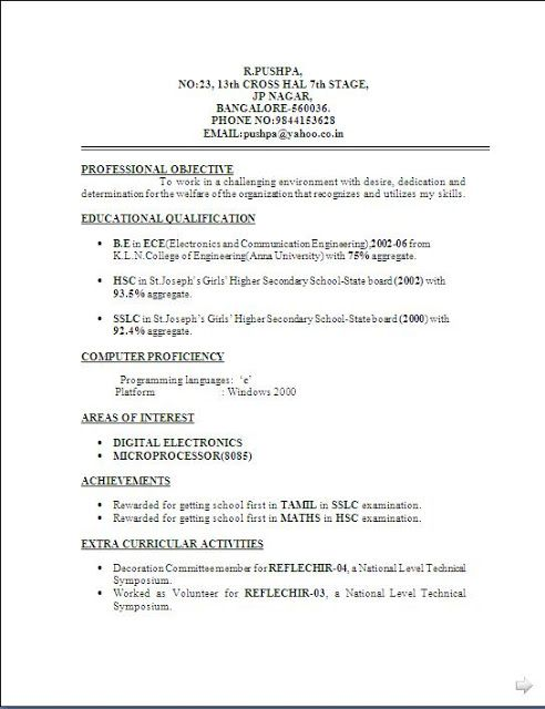 best template for resume free download Sample Template Example of - ece resume format
