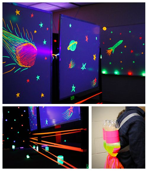 "Outer Space theme room and game. Students put on a jet-pack and fly through outer space, collecting ""power-up'rings"" (glow bracelets). Glow-in-the-dark decor includes fluorescent dry-erase markers on whiteboards, glow water from fluorescent highlighters, and other flourescent objects under black lights. Glowing stars and planets, glow sticks in balloons, and the Space Mountain theme music are also a nice touch for this Outer Space Adventure."