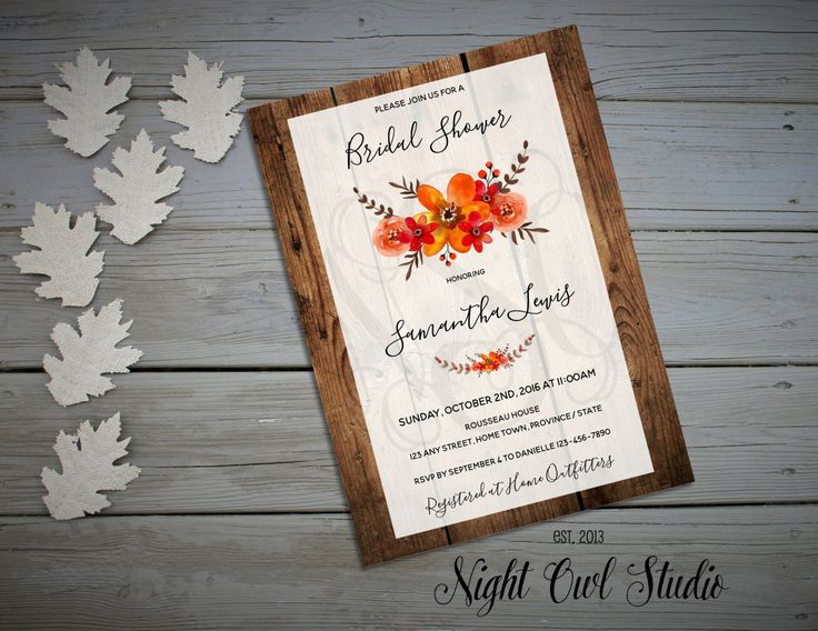 Fall Invitation-Thanksgiving-Autumn--Bridal Shower-Thanksgiving Dinner-Fall…