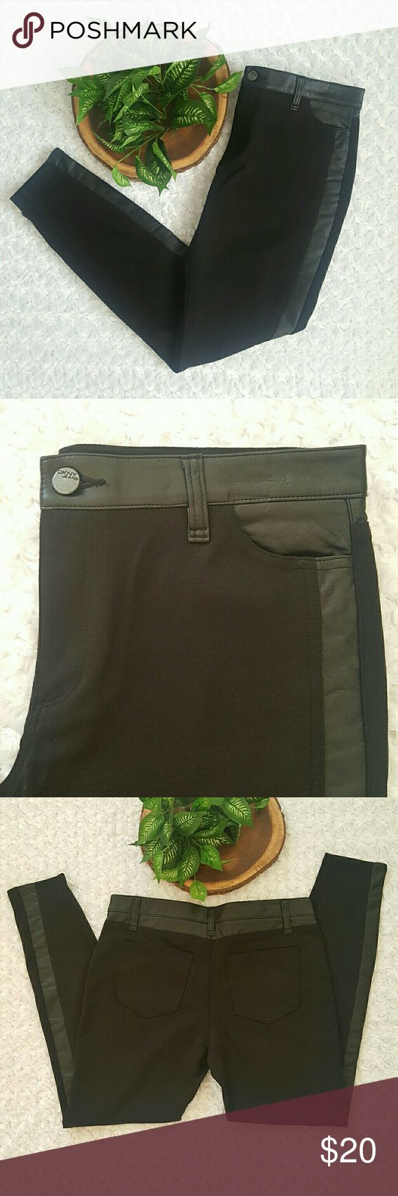 💰DEAL OF DAY💰NEW Faux Leather Paneled DKNY Pants PRICE FIRM ON DEAL OF DAY  Dress up your outfit with these trendy faux leather leggings. Perfect with comfy sweater on a chilly fall day.   Black faux leather paneled ponte leggings. Zip fly and button closure,  Faux leather belt loops. Stretchy fabric.   Size 8. NWOT. Smoke and pet free home.   No Trades! Bundle and Save! Inquire below with questions!   Thanks for looking, sharing, and saving! DKNY Pants Leggings