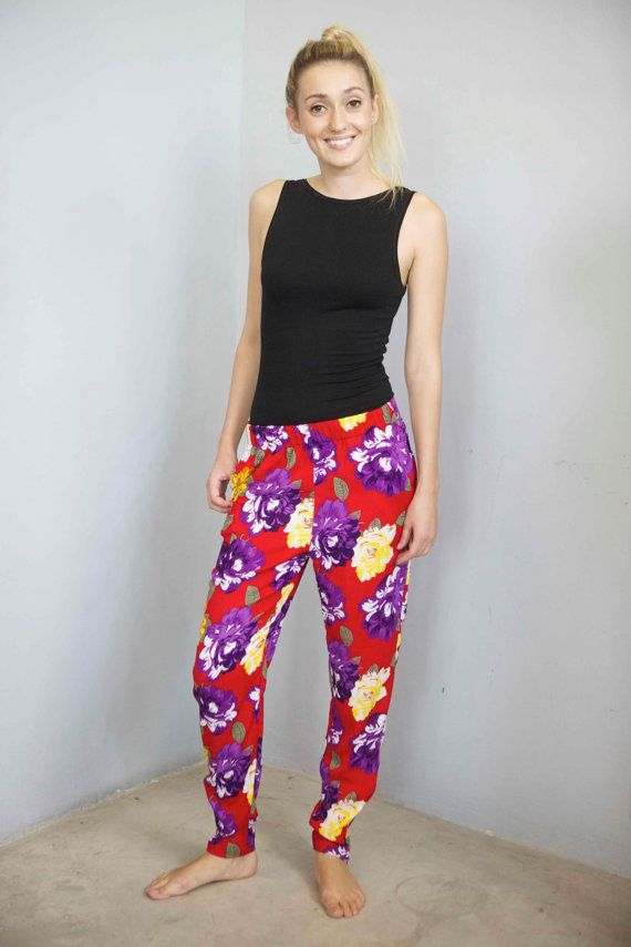 Kiss Me Quick  Flower Print Baggy Pants by frank on Etsy, $75.00
