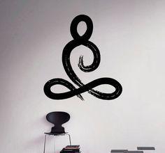 Symbol der Yoga Pose Vinyl Aufkleber Yoga Studio Wall Sticker Decor Wohnzimmer Wand Wandmalereien Haushaltswaren 16(yga)