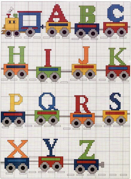 Cross Stitch Alphabets. Could do presents instead of letters for Christmas train.