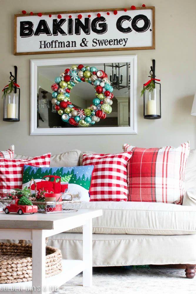 DIY farmhouse style baking sign, Pottery Barn lanterns, Birch Lane Montgomery sofa with red plaid throw pillows