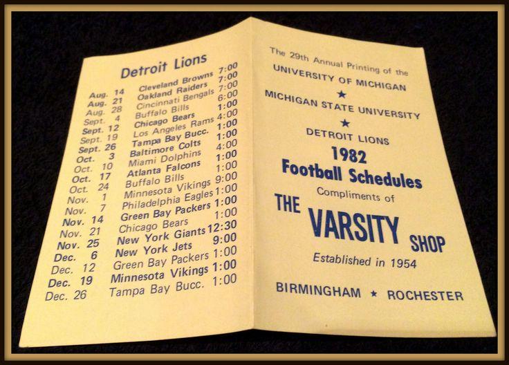1982 MICHIGAN DETROIT LIONS MICHIGAN STATE FOOTBALL POCKET SCHEDULE EXEX+ COND #Pocket #DetroitLions