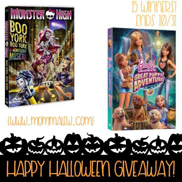 Happy Halloween Monster High + Barbie DVD Giveaway
