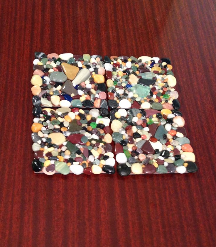 Mosaic beach stone and sea glass coasters trivets for by HCSeaGems, $25.00