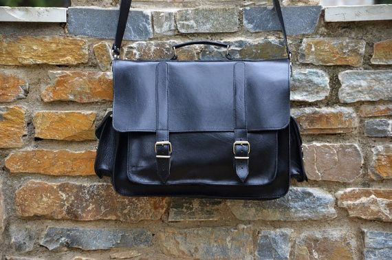 Black Leather Messenger Bag 17 inch Laptop Bag  by Leatherhood