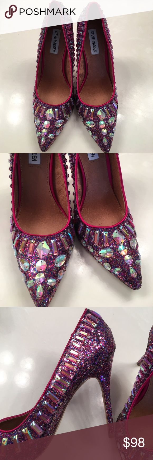 """NWT ✨ Steve Madden - """"Galaxxie"""" Glitter Heels Brand New, still has tags on the bottoms. Just tried on at the store and never worn. Even more stunning in person! These Steve Madden glittery Rhinestone heels are everything 🙌🏼💕😍. So beautiful. Price is definitely negotiable and I'm always open to all offers. 💕Size 8.5 💕 Steve Madden Shoes"""