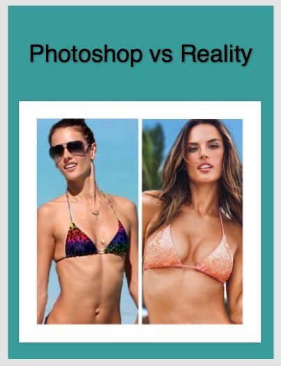 Alessandra Ambrosio. Stop trying to look like women in print. Nothing can change if we do not embrace the culture of looking perfect to win love and approval. We are not allowed to be thin, fat, wrinkled, big busted, small busted...on and on and on. Time for it to stop.
