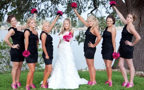 Love the black dress and hot pink shoes look for the bridesmaids ...