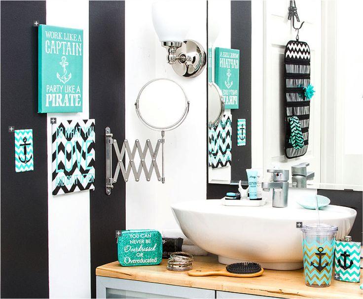 Chevron and Anchor bathroom theme
