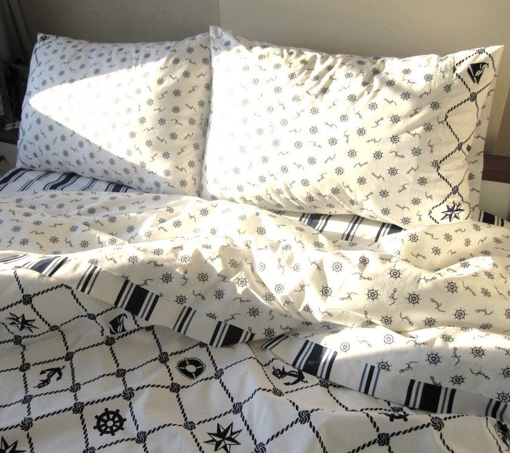 Nautical Bedding Queen size Duvet cover Navy Stripes  shabby chic beach cottage 4 pcs anchor sailor white bedroom boat decoration. $165.00, via Etsy.