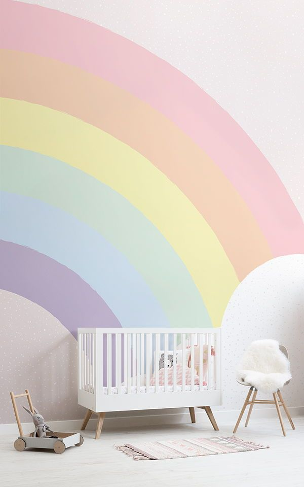 Kids Pastel Rainbow Wallpaper Mural Muralswallpaper In