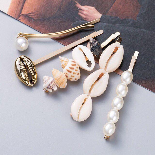 Women Pearl Hairpins Rhinestone Hair Clips Headwear Shell Conch Hairgrip