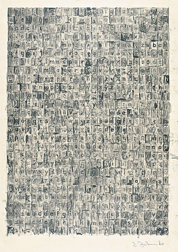 Jasper Johns - Grey Alphabet | graphite wash on paper,  typeset letters arranged alphabetically http://www.timeout.com/newyork/art/jasper-johns-gray  http://www.nytimes.com/2008/02/03/arts/design/03voge.html?pagewanted=all&_r=0