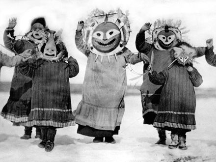 Still from The Drums of Winter (Uksuum Cauyai), which explores the traditional dance, music and spiritual world of the Yupik Eskimo people of Emmonak in the Yukon Pass.