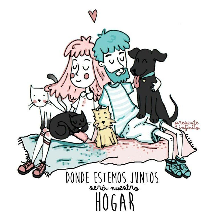 #cerati #ceratieterno #presente infinito #illustration #art #comic #familia #cats #dogs #pinkhair