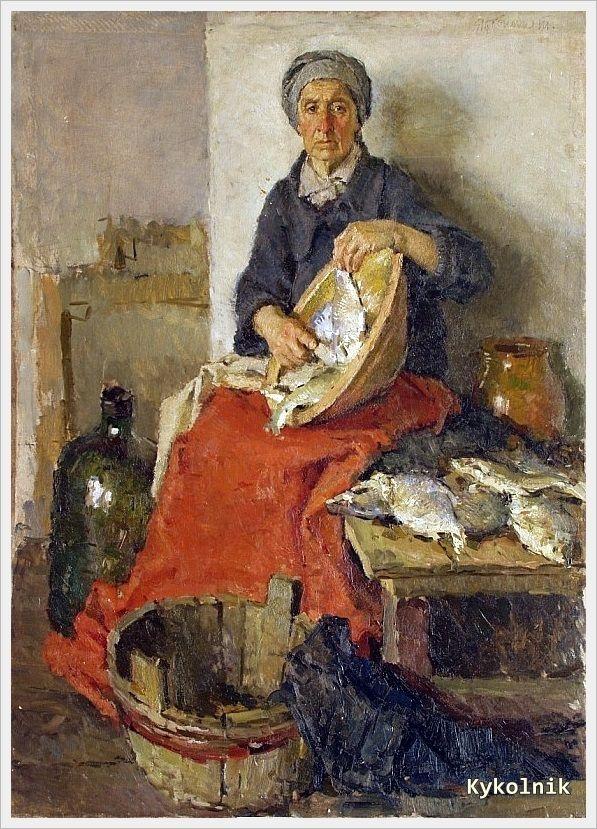 """Старша жінка з рибою"" 1937, Тетяна Яблонська (1917-2005) Україна / ""Old woman with fish"", 1937, Tetiana Yablonska (1917-2005) Ukraine"
