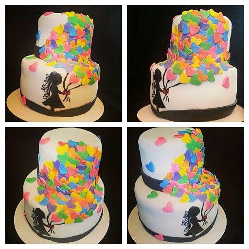 Happy Birthday Silhouette Balloon Cake My Cakes Julieta