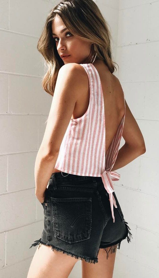 #spring #outfits Pink Striped Backless Top + Black Denim Short