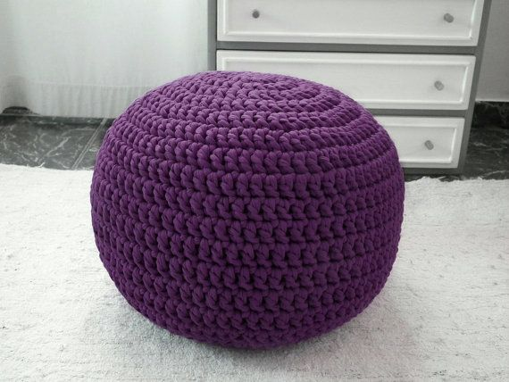 Purple Ottoman Pouf  Purple Nursery Ottoman by LoopingHome on Etsy