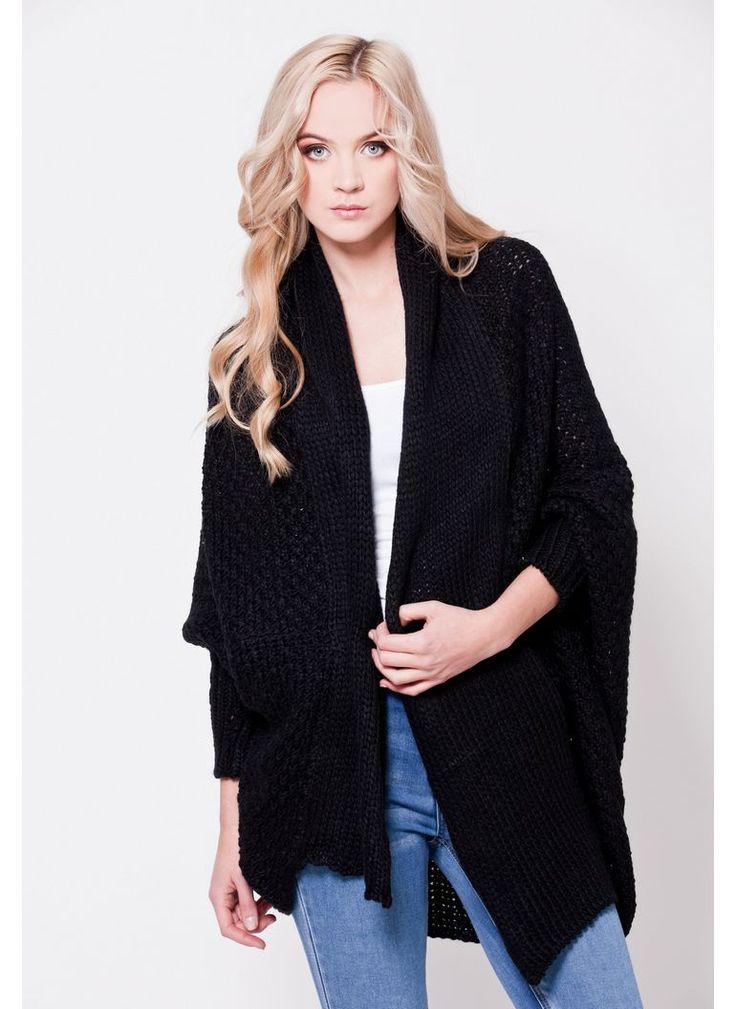 SWETER KARDIGAN OVERSIZED CZARNY I CARDIGAN SWEATER BLACK I  MONASHE.PL - Sklep online z modną odzieżą. Bluzki, sukienki, torebki, obuwie, akcesoria.
