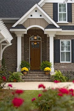 Red Brick And Gray Siding Black Shutters Design, Pictures, Remodel, Decor and Ideas - page 4