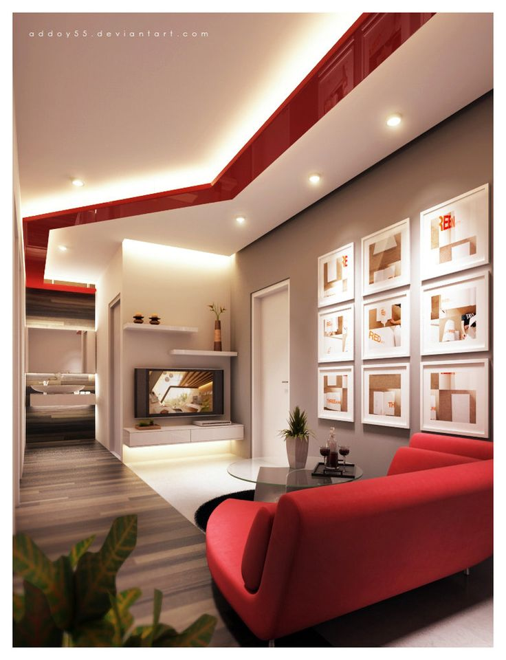 Living Room Modern High White And Red Ceiling Lamp Grey Wall