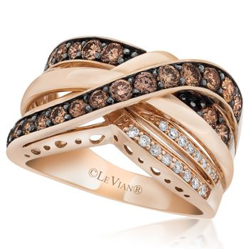 Le Vian Chocolate Diamond Rings | Le Vian 14K Strawberry Gold .99 Carat Chocolate and Vanilla Diamond ...