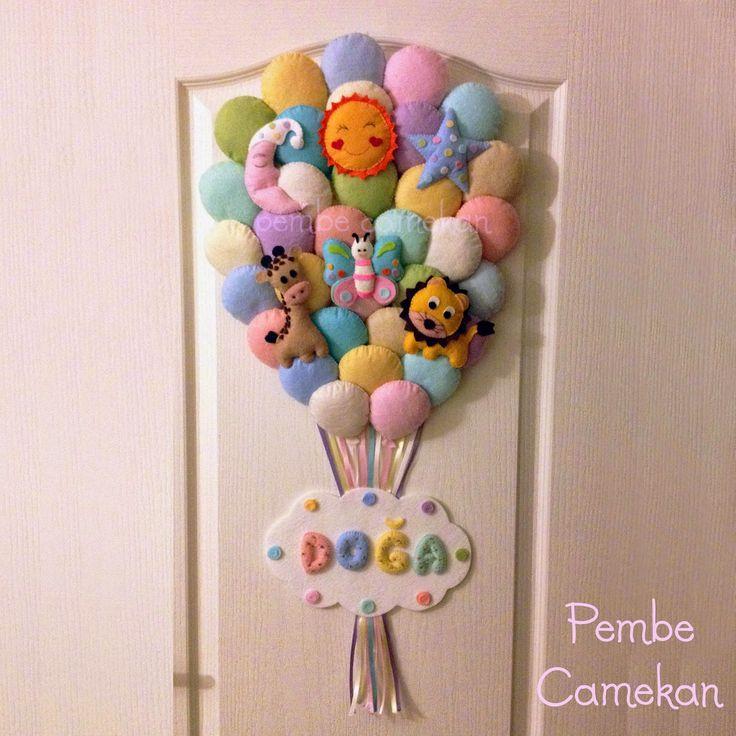 PEMBE CAMEKAN - Keçe Tasarım Atölyesi - Hediye Dükkanı Pastel Balon Demeti Kapı Süsü Bilgi ve sipariş için: pembecamekan@hotmail.com