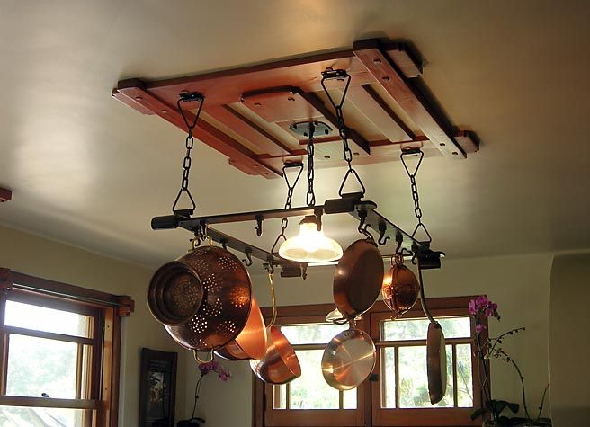 Pot Rack With Light Fixture Robinson Kitchen Potrack And