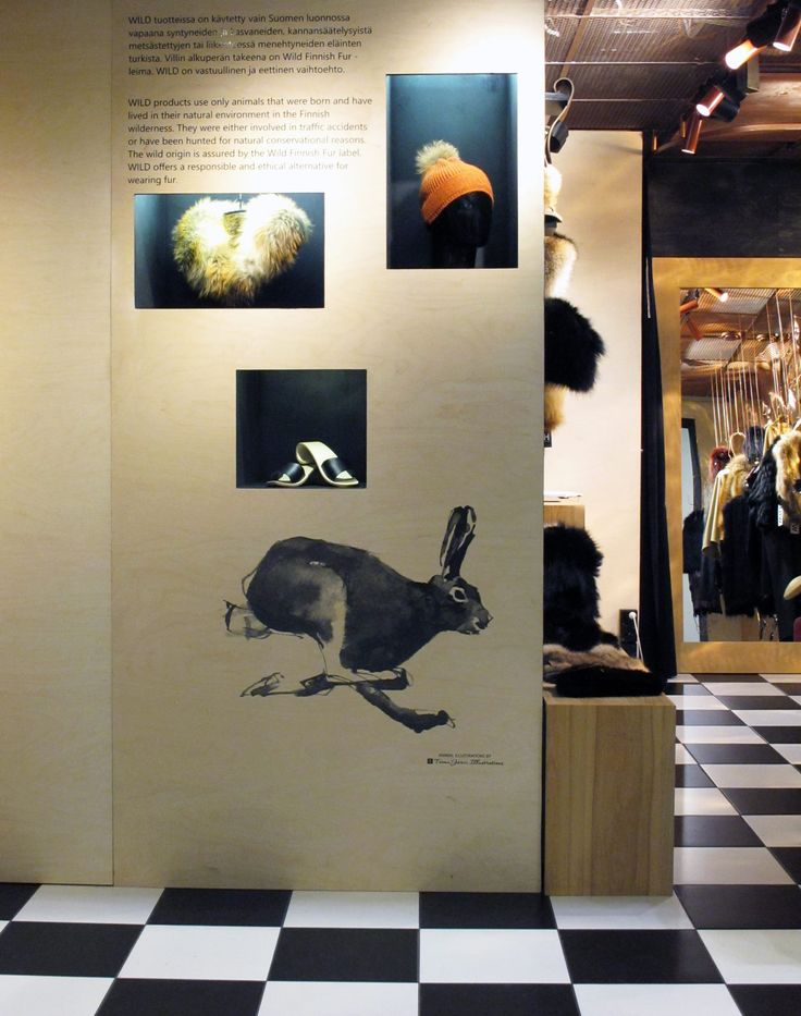 Wall Illustrations for Marita Huurinainen Brand Store in Helsinki.  Marita Huurinainen's WILD Concept is a new approach to enjoying fur. What makes WILD unique is that it offers an ethical and responsible way of wearing fur as it is not using fur of any farmed animals.  WILD allows you to enjoy fur with a good conscience.