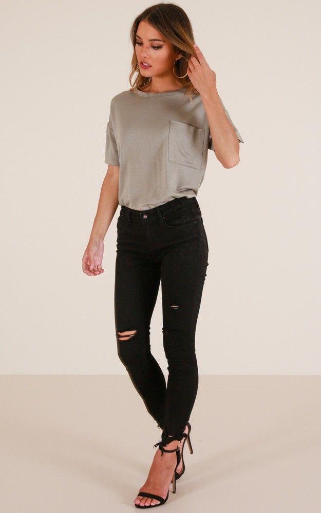 natalee skinny jeans in black. showpo. black.
