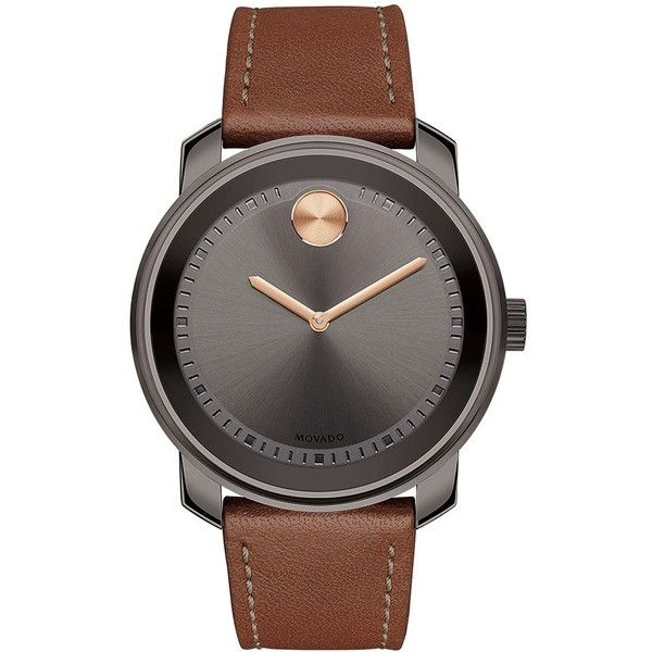 Movado Bold Bold Gunmetal Stainless Steel Cognac Leather Strap Watch,... ($595) ❤ liked on Polyvore featuring men's fashion, men's jewelry, men's watches, gun metal, mens gunmetal watches, mens grey watches, men's blue dial watches, mens stainless steel watches and movado mens watches