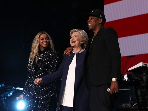 From left, Beyonce, Democratic presidential nominee